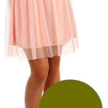 Krátká dámská tylová sukně khaki