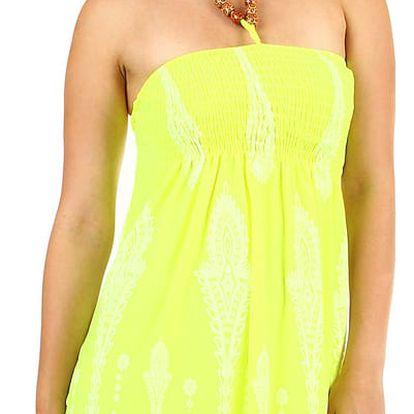 Dámské plážové šaty / sukně se zavazováním za krk neon žlutá