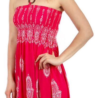 Vzdušné letní šaty s ozdobou růžová