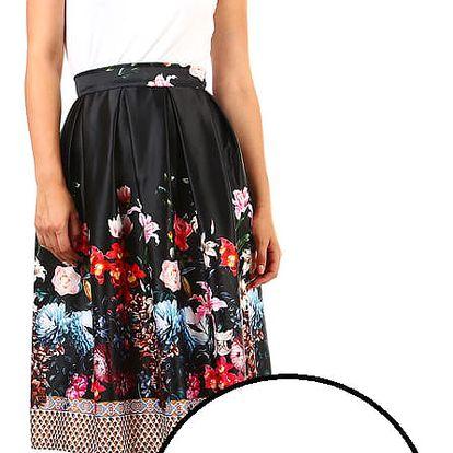Dámská skládaná áčková retro sukně s potiskem bílá