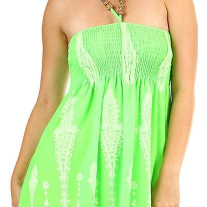 Dámské plážové šaty / sukně se zavazováním za krk neon zelená