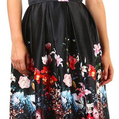 Dámská skládaná áčková retro sukně s potiskem černá