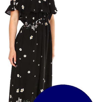 Dámské letní dlouhé šaty s potiskem tmavě modrá