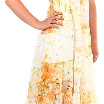 Dámské letní volné šaty s potiskem oranžová