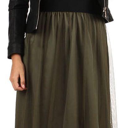 Dámská romantická tylová sukně khaki