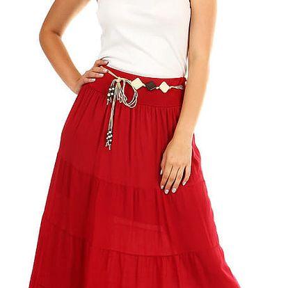 Dámská dlouhá sukně s ozdobným páskem vínová