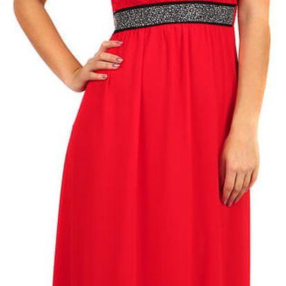 Dlouhé šaty s kamínkovou aplikací v pase červená