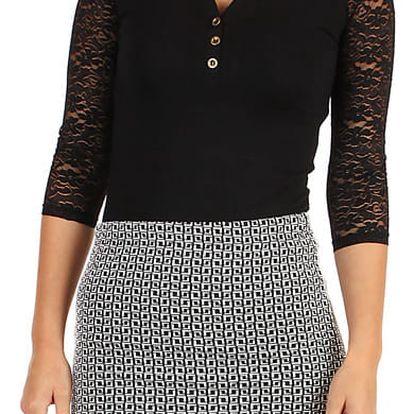Dámská pouzdrová sukně se vzorem - i pro plnoštíhlé černá/bílá