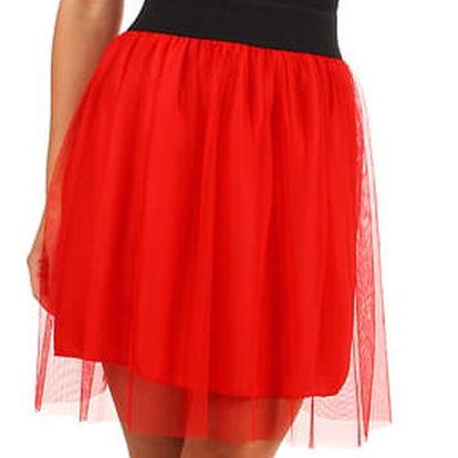 Krátká dámská tylová sukně červená