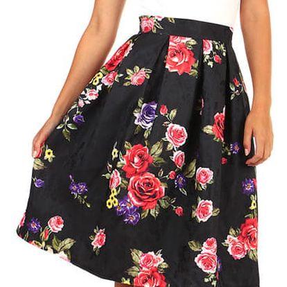 Áčková dámská sukně s květinovým vzorem bílá