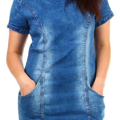 Dámské džínové šaty - pro plnoštíhlé modrá