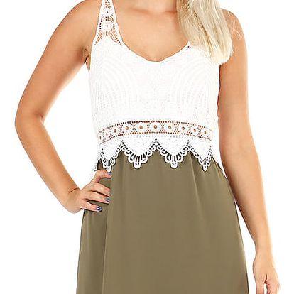 Krátké šaty s krajkovými zády khaki