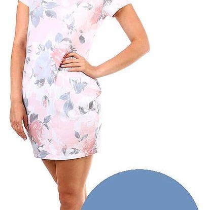 Dámské květované bavlněné šaty denim
