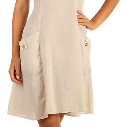 Bavlněné letní šaty s krajkou a výraznými kapsami béžová