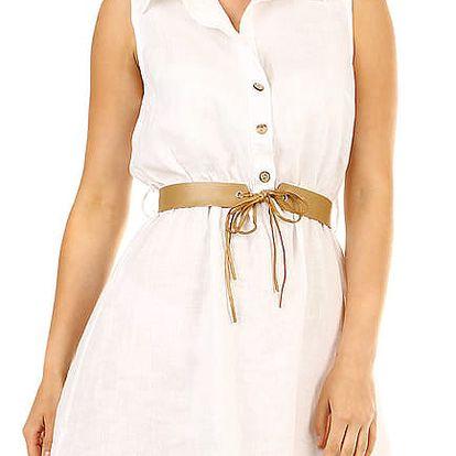 Dámské lněné šaty s límečkem bílá
