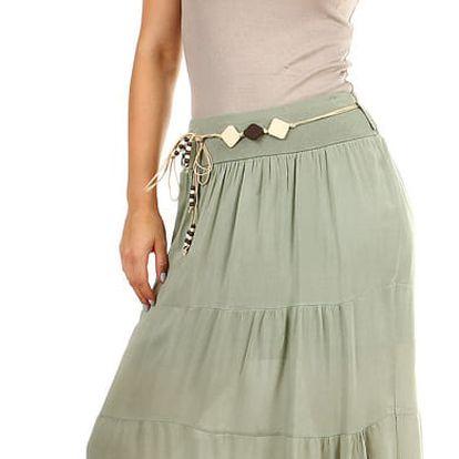 Dámská dlouhá sukně s ozdobným páskem zelená