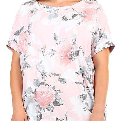 Dámské letní volné šaty s květinovým potiskem růžová