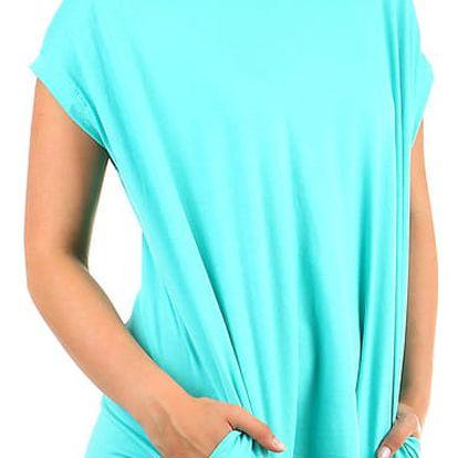 Dámské dlouhé tričko s krátkým rukávem tyrkysová