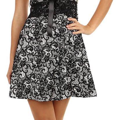 Dvoubarevné áčkové šaty s krajkou bílá