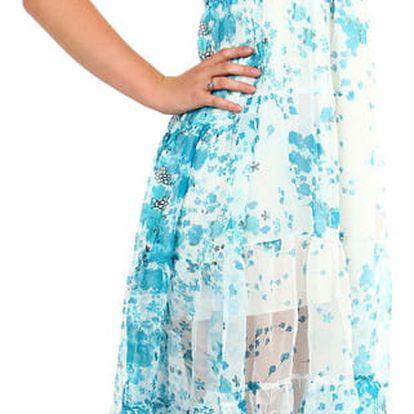 Dámské letní volné šaty s potiskem modrá