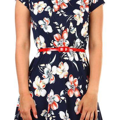 Dámské vzorované šaty s krátkým rukávem tmavě modrá