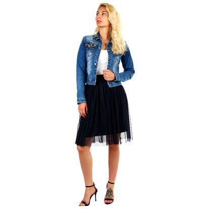 Dámská tylová midi sukně tmavě modrá