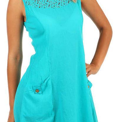 Bavlněné letní šaty s krajkou a výraznými kapsami modrozelená