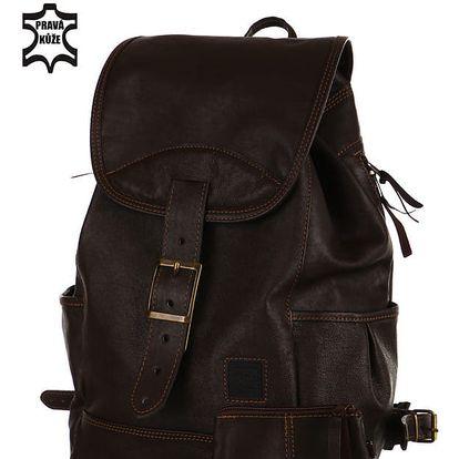 Velký kožený batoh - Česká výroba tmavě hnědá