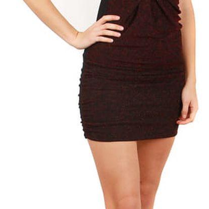 Třpytivé mini šaty bez ramínek červená