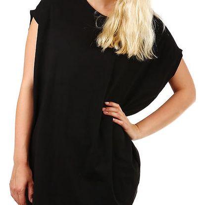 Dámské dlouhé tričko s krátkým rukávem černá