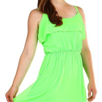 Dámské šifonové šaty s volánem neon zelená