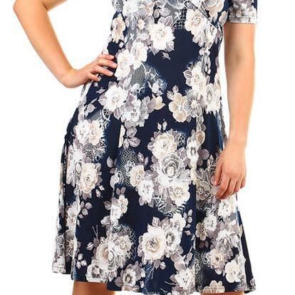 Krátké retro šaty s potiskem- pro plnoštíhlé tmavě modrá