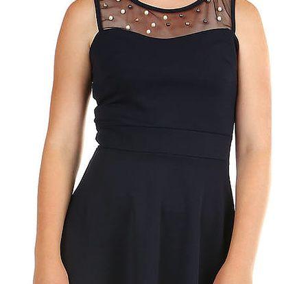 Dámské společenské šaty s perličkami tmavě modrá
