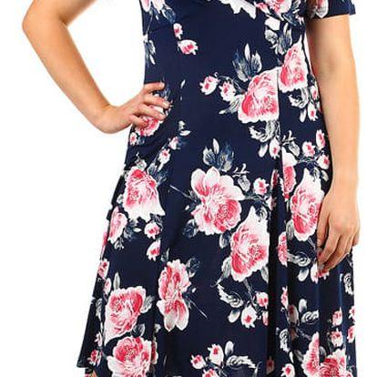 Retro dámské šaty s potiskem - pro plnoštíhlé tmavě modrá