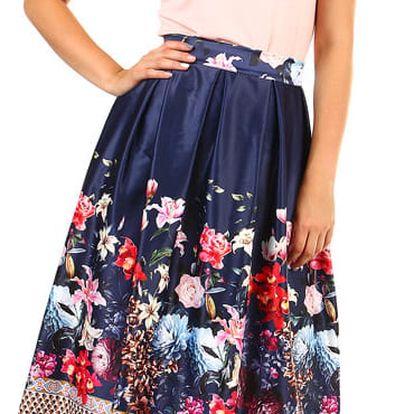 Dámská skládaná áčková retro sukně s potiskem tmavě modrá