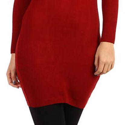 Dámské pletené šaty s odhalenými rameny vínová