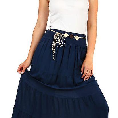 Dámská dlouhá sukně s ozdobným páskem tmavě modrá