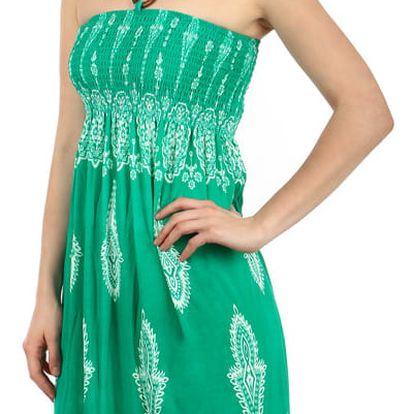 Vzdušné letní šaty s ozdobou zelená