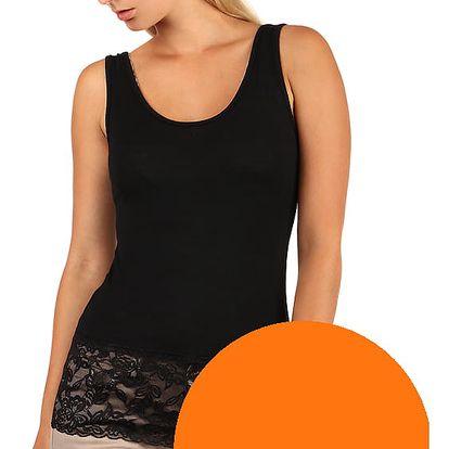 Dámské letní tílko s krajkou neon oranžová