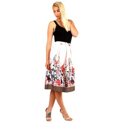 Dámská skládaná áčková retro sukně s potiskem světle růžová