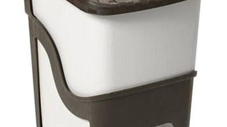 Ratanový odpadkový koš 18 l, bílá a hnědá