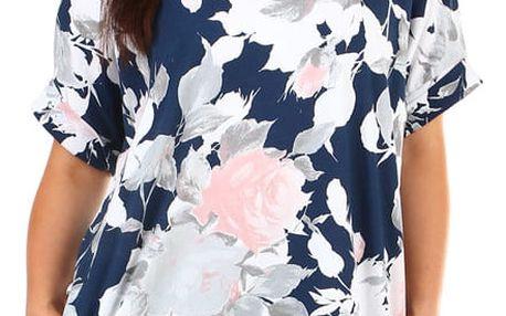 Dámské letní volné šaty s květinovým potiskem modrá