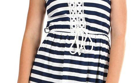 Krátké dámské pruhované šaty s výšivkou