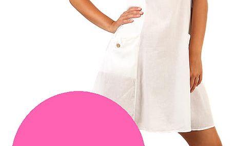 Bavlněné letní šaty s krajkou a výraznými kapsami růžová