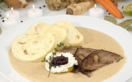 Svíčková s knedlíky pro 2 i 4 osoby ve Švejk Restaurantu Strašnice v Praze