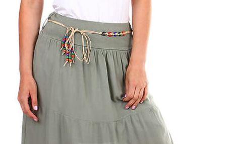 Dámská maxi sukně s korálkovým páskem tmavě modrá