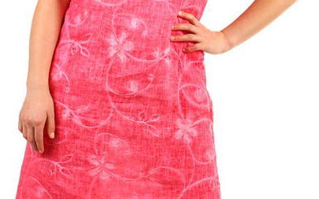 Dámské plážové lněné šaty- i pro plnoštíhlé růžová