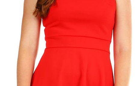 Dámské společenské šaty s perličkami červená
