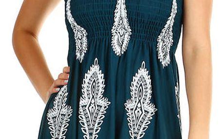 Dámské plážové šaty / sukně se zavazováním za krk petrolejová