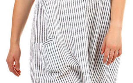 Dámské plážové pruhované oversized šaty s kapsami bílá
